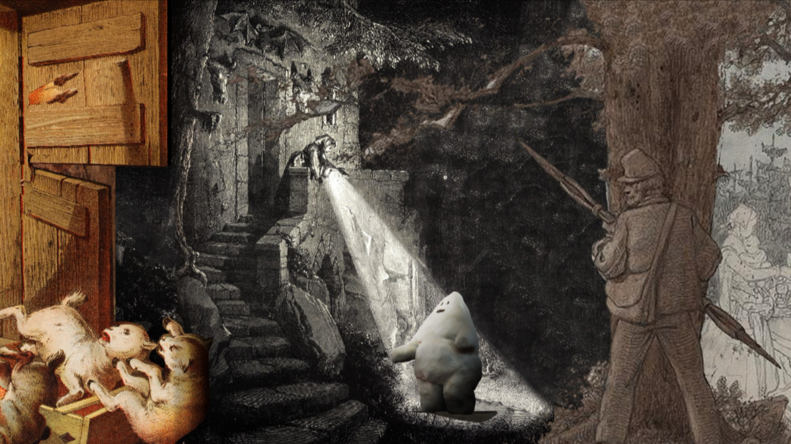 Still from The Golem, rumbled by a character from an old fairy tale