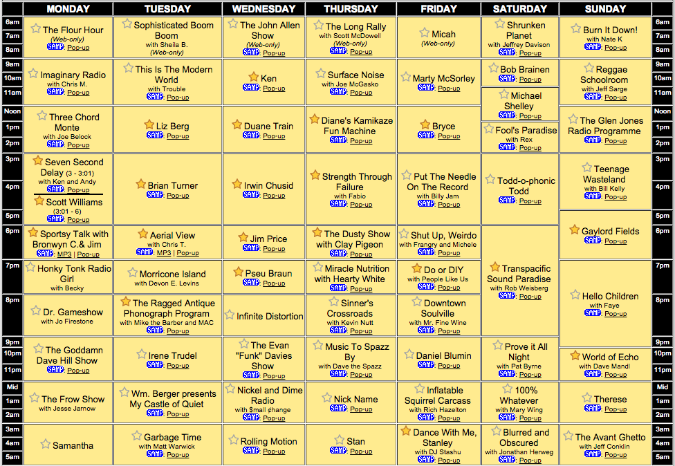 wfmu summer schedule 2015